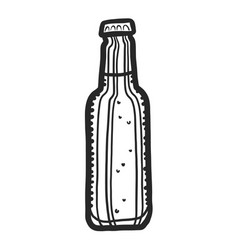 beer bottle icon hand drawn style vector image