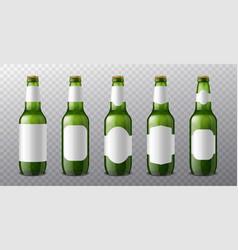 beer bottle labels 3d realistic green glass vector image