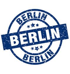 Berlin blue round grunge stamp vector