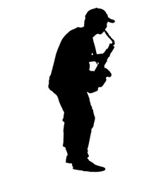 black silhouette musician playing the saxophone vector image