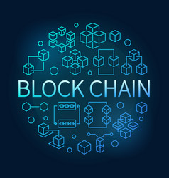 block chain round blue outline bright vector image