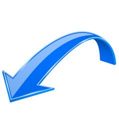 blue down arrow 3d previous sign vector image