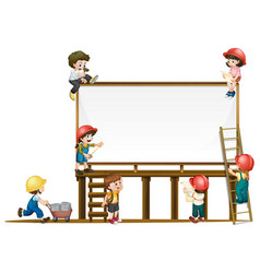 Board template and children working on vector