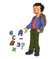 Boy student learning math vector