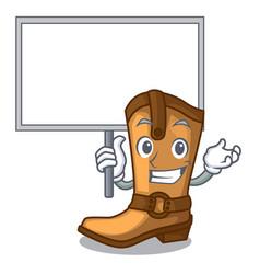 Bring board cowboy boots in the shape cartoon vector