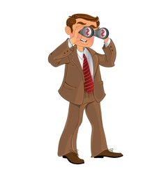 Businessman in brown suit with binoculars look on vector