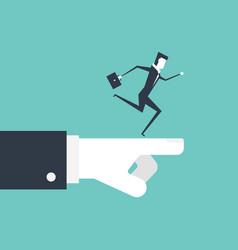 businessman running on boss hand vector image