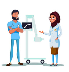 Cartoon arab muslim doctors xray machine vector