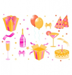 cartoon birthday icons vector image