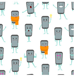 cartoon characters smartphones seamless pattern vector image