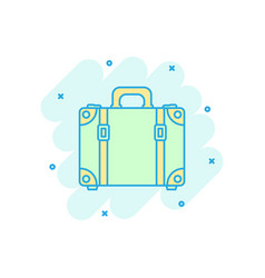cartoon colored suitcase icon in comic style case vector image