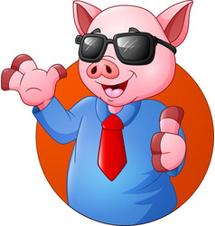 cartoon pig businessman giving thumbs up vector image