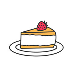 Cheesecake with strawberry color icon vector