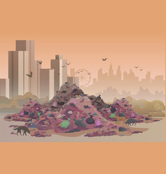 City landfill flat vector