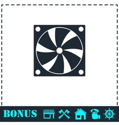 Computer cooling fan icon flat vector