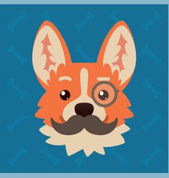 Corgi dog emotional head with monocle and vector