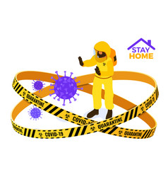 Covid-19 quarantine stay home doctor stop vector