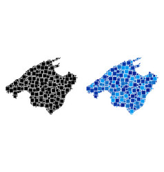 Dotted spain mallorca island map with blue version vector