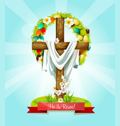easter sunday cross with flowers greeting card vector image