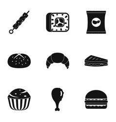 Eat too much icons set simple style vector