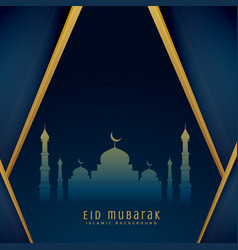 Eid greeting design with mosque shape vector
