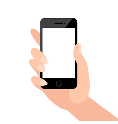 female hand holding black phone with blank screen vector image