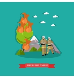 fire in forest in flat vector image