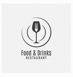 food and drinks restaurant menu plate with fork vector image