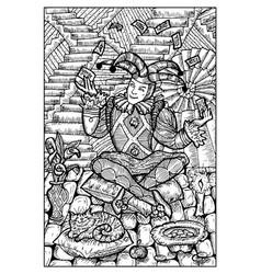 Fool engraved fantasy vector
