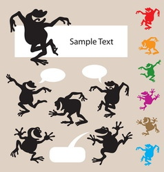 Frog Dancing Silhouettes 1 vector