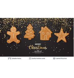 Gingerbread cookies and text on dark banner vector