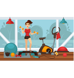 Girl doing physical exercises with dumbbells in vector