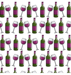 Glass and blottle of wine background vector