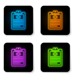 glowing neon medical clipboard with clinical vector image