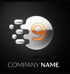 gold number nine logo silver dots splash vector image