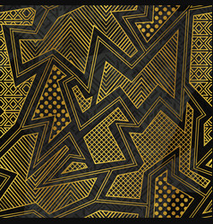 Gold tribal geometric seamless pattern vector