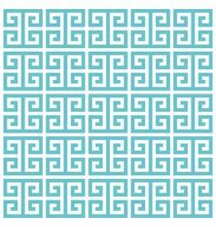 Greek key pattern background blue green vector