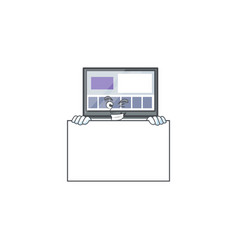 Grinning with board laptop with a cartoon vector
