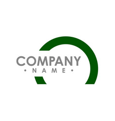 Half green circle logo abstract corporate symbol vector