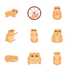 Hamster character icon set cartoon style vector