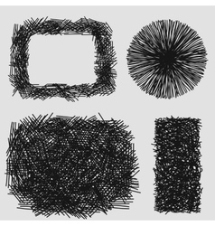 Hand drawn sketches rough hatching grunge texture vector image