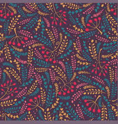 herbs and berries seamless pattern vector image