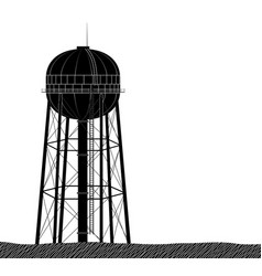 high and large water tower from usa black on vector image