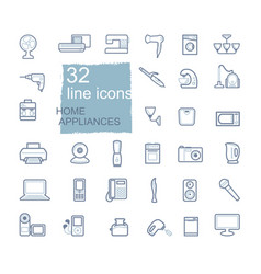 home appliances linear icon set vector image