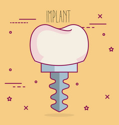 Implant dental care icon vector