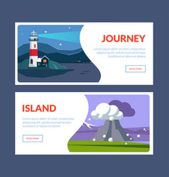 journey island horizontal banners set travel vector image