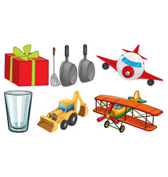 Large set different items on white background vector