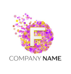 Letter f logo with purle particles and bubble dots vector