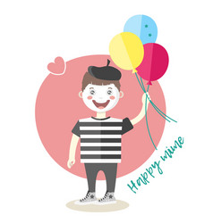 little cheerful mime artist with balloons vector image