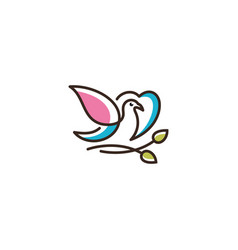 logo of love leaves birds icon line art p vector image